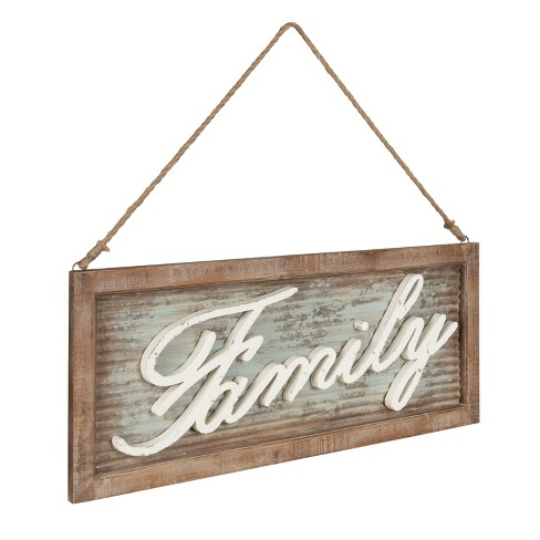 Kate Laurel 14x335 Flanders Family Hanging Sign Metal With