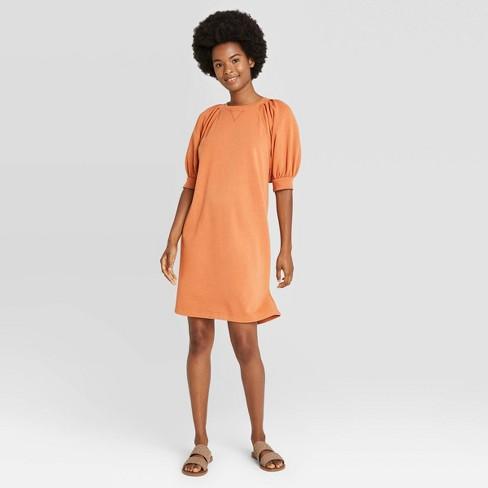 Women's Puff Short Sleeve T-Shirt Dress - Universal Thread™ Brown S