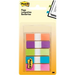 Post-it Flags, Assorted Bright Colors, .5 in. Wide, 100 Flags/On-the-Go Dispenser