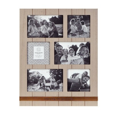"12"" x 15"" Eight Opening Metal Band Collage Photo Display Brown - New View"