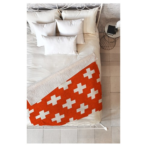 "Red Geometric Holli Zollinger Vermillion Plus Sherpa Throw Blanket (50""X60"") - Deny Designs® - image 1 of 1"