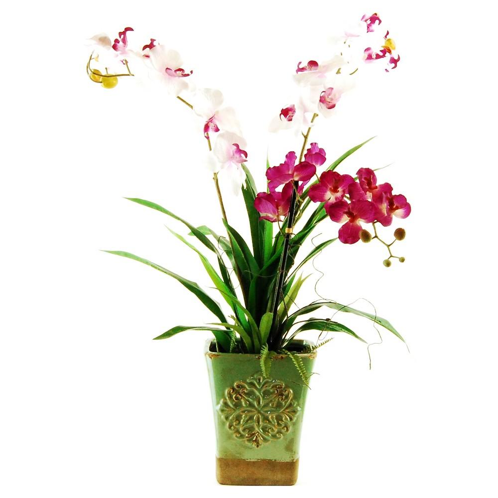 Artificial Orchid Arrangement Pink/White 34 - Lcg Florals, Multi-Colored