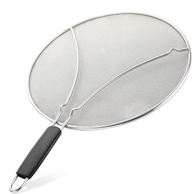 """Splatter Screen for Frying Pan - Stops Almost 100% of Hot Oil Splash - Large 13"""" Stainless Steel Grease Guard Shield and Catcher- Keeps Stove and Pans Clean & Prevents Burns"""