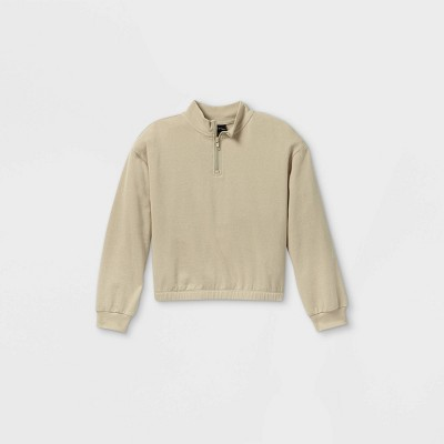 Girls' Quarter Zip Mock Neck Pullover - art class™