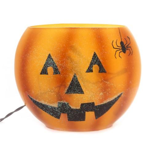 "Stony Creek 6.5"" Pumpkin Lighted Oval Glass Vase Jack-O-Lantern - image 1 of 2"