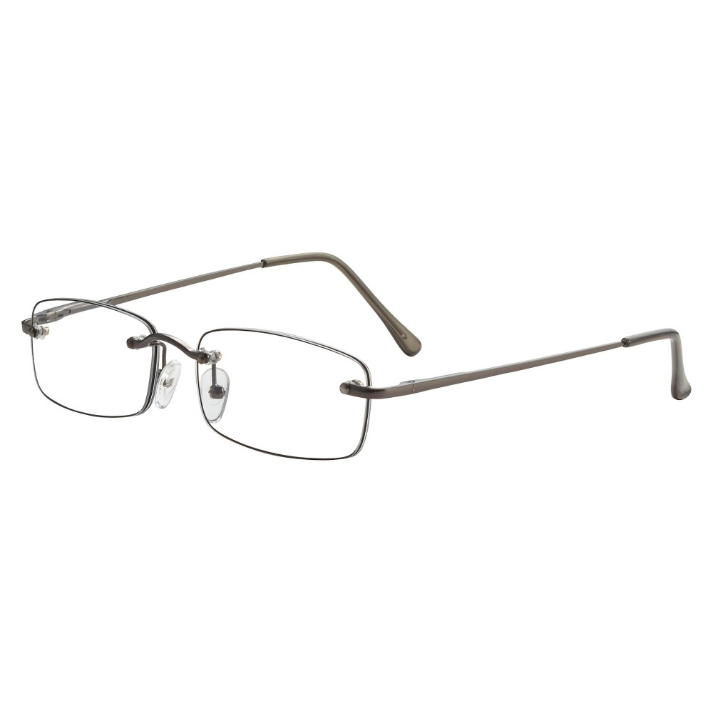 Icu Plastic Rimless Rectangle Readers With Case - +1.75