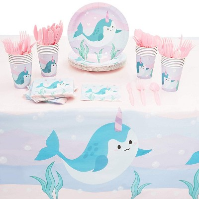 Blue Panda 145-Piece Serves 24 Narwhal Party Supplies - Disposable Plate, Napkin, Cup & Cutlery