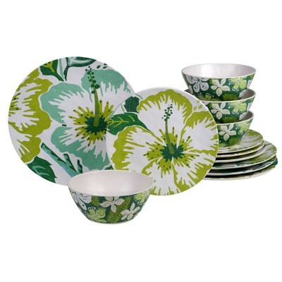 12pc Melamine Tropicali Dinnerware Set Green - Certified International
