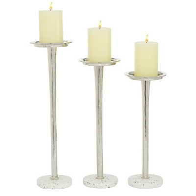Set of 3 Aluminum Terrazzo Candle Holders Silver - Olivia & May