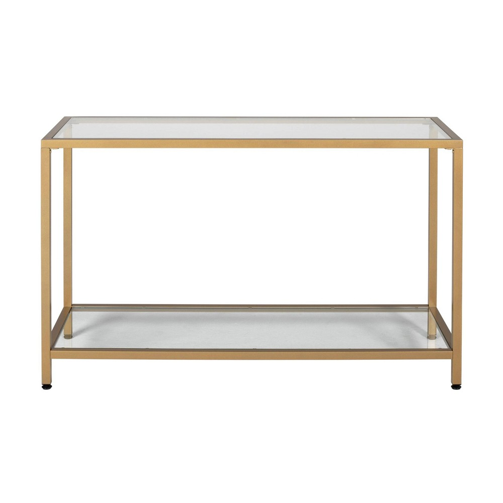 "Image of ""47"""" Camber Modern Glass Console Table Gold - Studio Designs Home"""