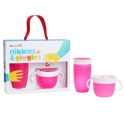 Munchkin Nibbles & Giggles Toddler Miracle Cup And Snack Catcher Feeding Gift Set - Pink
