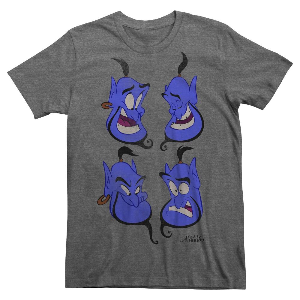 Coupons Mens Aladdin Genie Heads T-Shirt Charcoal M Grey