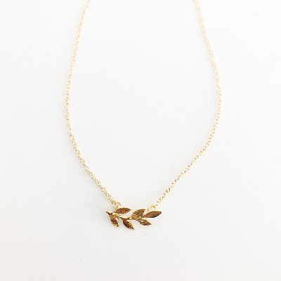 Sanctuary Project Dainty Olive Branch Necklace Gold