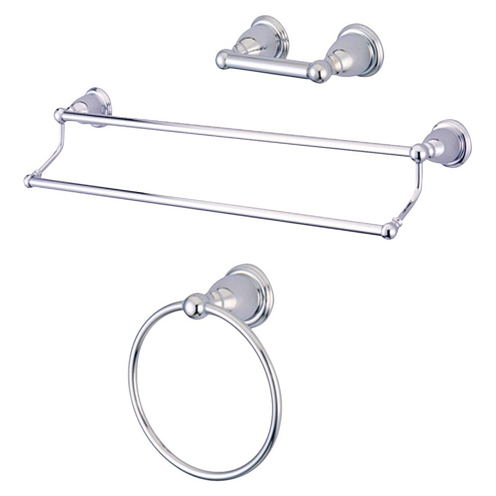 Image of Traditional Solid Brass Chrome 3-piece Double Towel Bar Bath Accessory Set - Kingston Brass