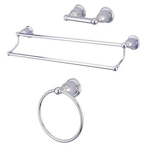 Traditional Solid Brass Chrome 3-piece Double Towel Bar Bath Accessory Set - Kingston Brass - image 1 of 2
