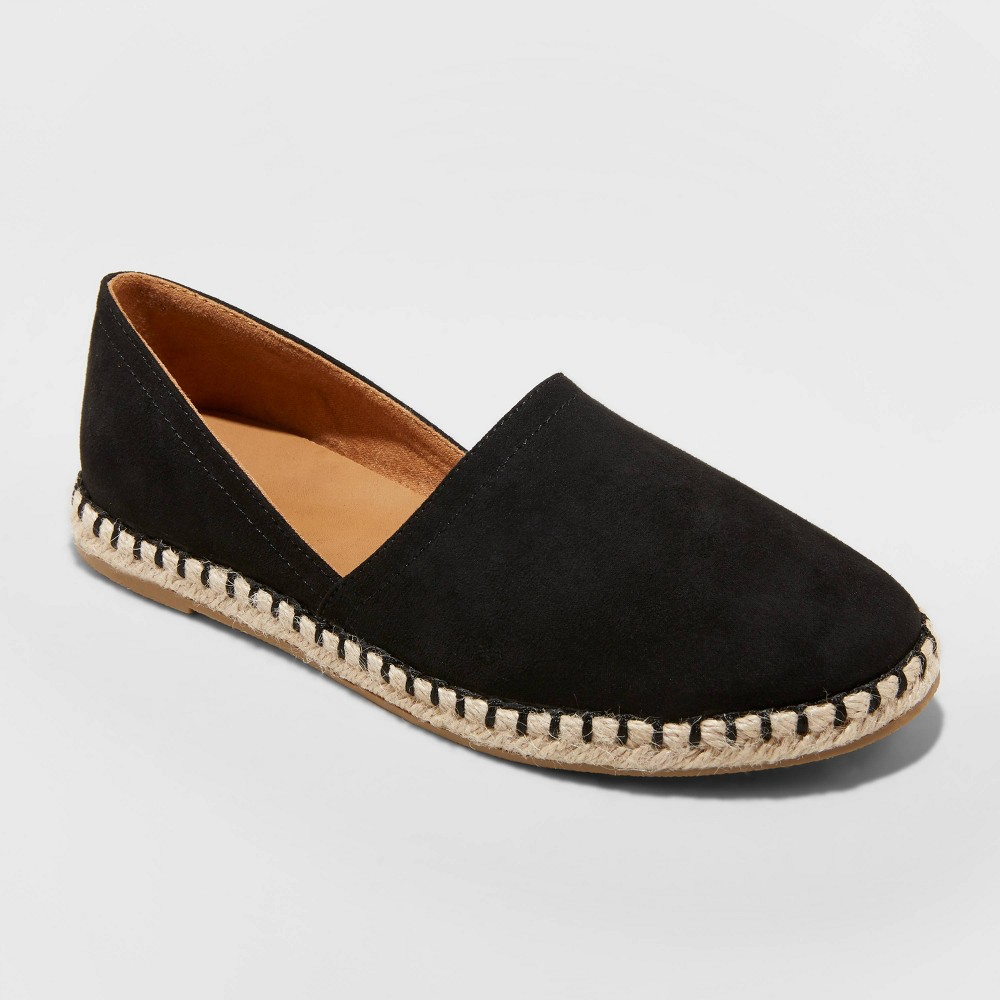 Image of Women's Andi Microsuede Espadrille Flats - A New Day Black 8.5, Women's