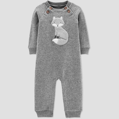 Baby Boys' Jumpsuit and Fox Sweater Fleece - Just One You® made by carter's Gray 6M