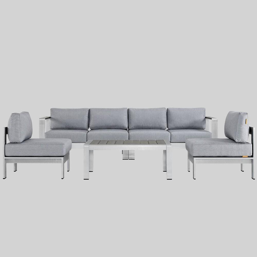 Shore 5pc Outdoor Patio Aluminum Sectional Sofa Set - Gray - Modway