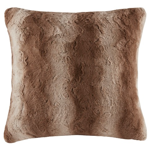 "Tan Marselle Faux Fur Throw Pillow (25""x25"") - image 1 of 3"