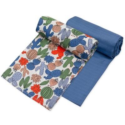 Honest Baby Organic Cotton Muslin Swaddle Blankets - Cactus 2pk