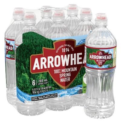 Arrowhead Brand 100% Mountain Spring Water - 6pk/23.7 fl oz Sports Cap Bottles