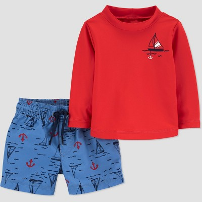 Baby Boys' Sailboat Long Sleeve Rash Guard Set - Just One You® made by carter's Red 3M