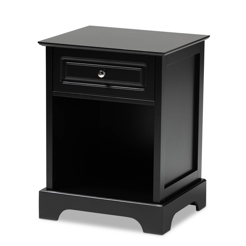 Image of 1 Drawer Chase Wood Nightstand Black - Baxton Studio