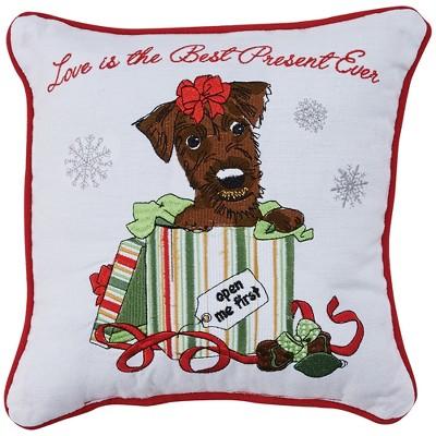 Park Designs Holiday Kisses Terrier Pillow - 10'' - White