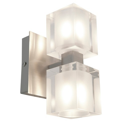 Astor 2-Light Bath Light with Frosted/Clear Glass Shade - Brushed Steel - image 1 of 2