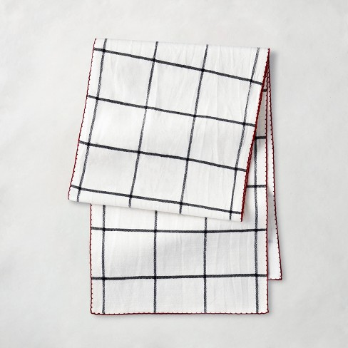 Holiday Windowpane Plaid Table Runner Railroad Gray/Red - Hearth & Hand™ with Magnolia - image 1 of 4