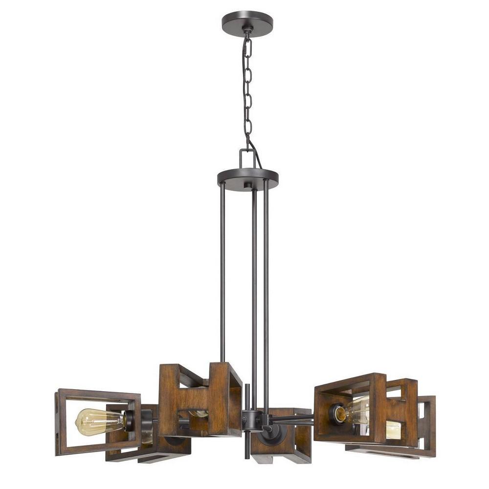 35 34 X 35 34 X 29 34 Metal Wood Biel Chandelier Medium Oak Cal Lighting