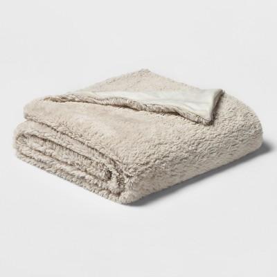 50 x80  Faux Fur Throw Blanket Sour Cream - Threshold™