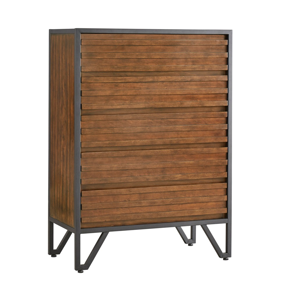 Inspire Q Simone Metal Frame Stacked Cherry Wood Chest Cherry