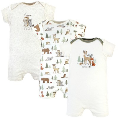 Hudson Baby Infant Boy Cotton Rompers, Forest Animals