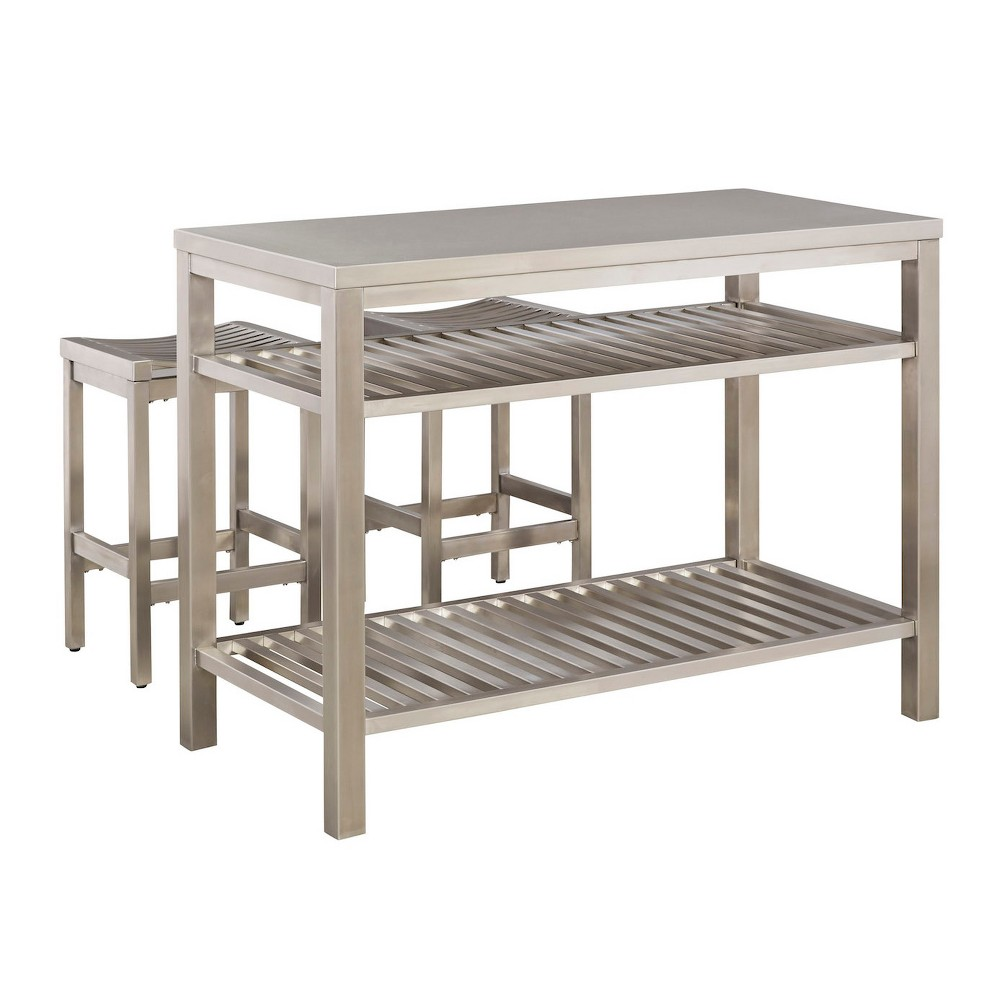 Image of Stainless Steel Island Set - Brushed Stainless - Home Styles