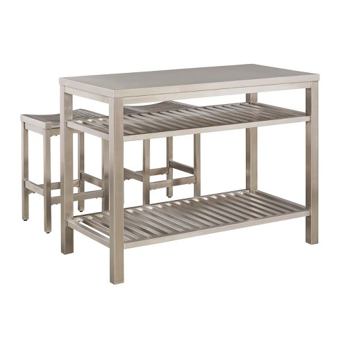 Stainless Steel Island Set - Brushed Stainless - Home Styles - image 1 of 2