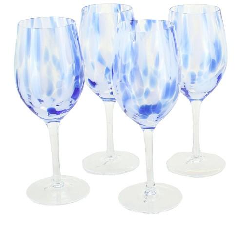 Blue Rose Polish Pottery Cobalt and Opal Confetti Wine Glass Set - image 1 of 1
