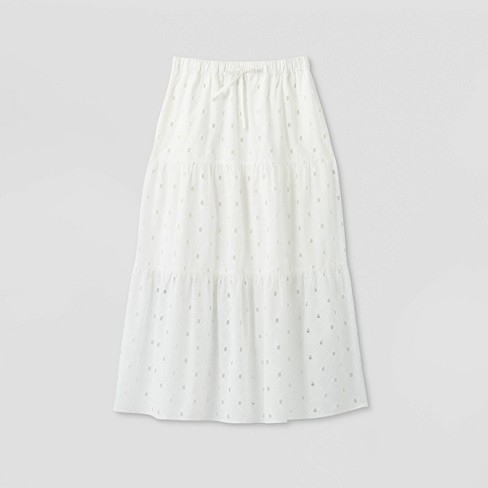 Women's Tiered Eyelet A-Line Midi Skirt - A New Day™ - image 1 of 2