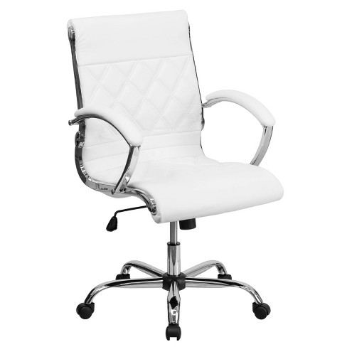 Executive Swivel Office Chair White Leather Chrome Base Flash Furniture Target