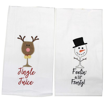 "Decorative Towel 27.0"" Frosty/Jingle Towel Wine Glass Christmas Kitchen  -  Kitchen Towel"