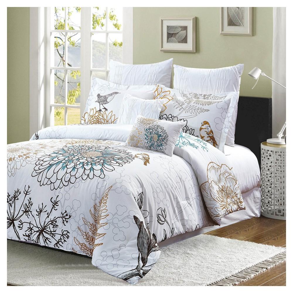 Image of Birdie Floral Print Comforter Set (Queen) 7 Piece - Style Quarters