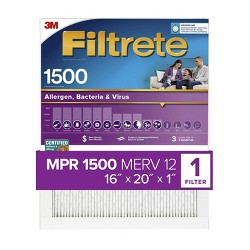 Filtrete 16x20x1 Allergen Bacteria and Virus Air Filter 1500 MPR