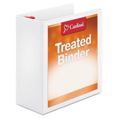 "Cardinal Treated Binder ClearVue Locking Slant-D Ring Binder, 4"" Cap, 11 x 8 1/2, White"