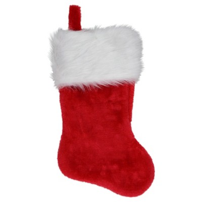 """Northlight 20"""" Traditional Red with White Cuff Hanging Christmas Stocking"""