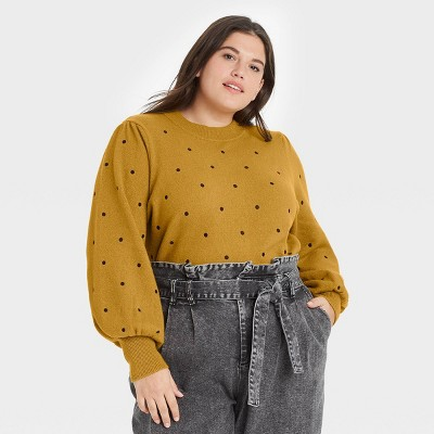 Women's Polka Dot Balloon Sleeve Crewneck Pullover Sweater - Who What Wear™