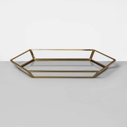 "13"" x 1.3"" Glass and Brass Curio Tray Clear/Gold - Opalhouse™"