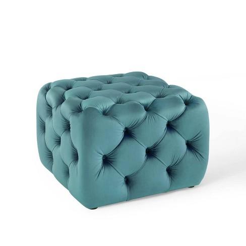 Anthem Tufted Button Square Performance Velvet Ottoman Sea Blue - Modway - image 1 of 4
