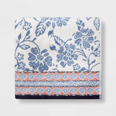 Floral Bath Towel White/Blue - Threshold™