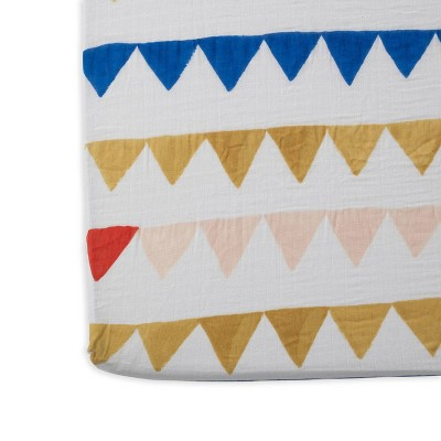 Red Rover Cotton Muslin Crib Sheets - Banners