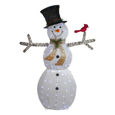 "Northlight 72"" White and Black LED Lighted Snowman with Top Hat Christmas Outdoor Decoration"